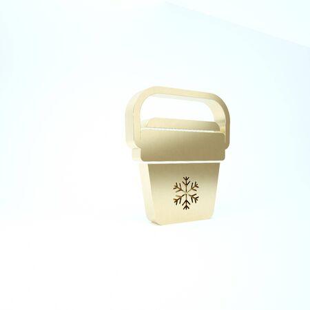 Gold Cooler bag icon isolated on white background. Portable freezer bag. Handheld refrigerator. 3d illustration 3D render