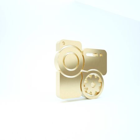 Gold Video camera and gear icon isolated on white background. Adjusting app, service concept, setting options, maintenance, repair, fixing. 3d illustration 3D render