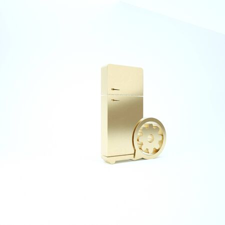 Gold Refrigerator and gear icon isolated on white background. Adjusting app, service concept, setting options, maintenance, repair, fixing. 3d illustration 3D render