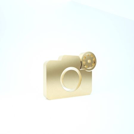 Gold Photo camera and gear icon isolated on white background. Adjusting app, service concept, setting options, maintenance, repair, fixing. 3d illustration 3D render