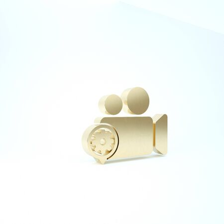 Gold Movie or Video camera and gear icon isolated on white background. Adjusting app, service concept, setting options, maintenance, repair, fixing. 3d illustration 3D render