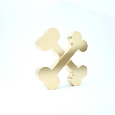 Gold Crossed bones icon isolated on white background. Pets food symbol. Reklamní fotografie