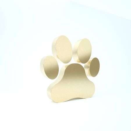 Gold Paw print icon isolated on white background. Dog or cat paw print. Animal track. 3d illustration 3D render