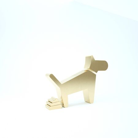 Gold Dog pooping icon isolated on white background. Dog goes to the toilet. Dog defecates. The concept of place for walking pets. 3d illustration 3D render Reklamní fotografie