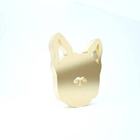 Gold Dog icon isolated on white background. 3d illustration 3D render