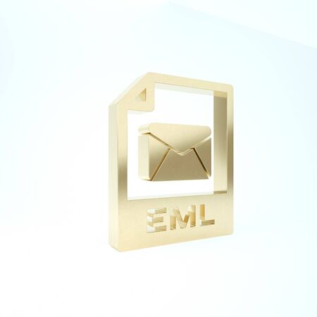 Gold EML file document. Download eml button icon isolated on white background. EML file symbol. 3d illustration 3D render