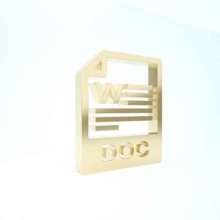 Gold DOC file document. Download doc button icon isolated on white background. DOC file extension symbol. 3d illustration 3D render Stockfoto