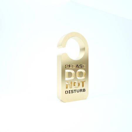 Gold Please do not disturb icon isolated on white background. Hotel Door Hanger Tags. 3d illustration 3D render