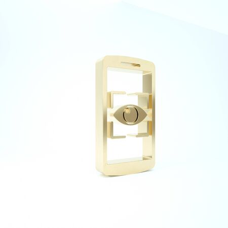 Gold Mobile phone and eye scan icon isolated on white background. Scanning eye. Security check symbol. Cyber eye sign. 3d illustration 3D render