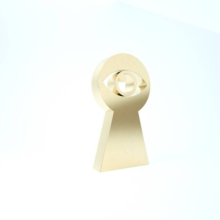 Gold Keyhole with eye icon isolated on white background. The eye looks into the keyhole. Keyhole eye hole. 3d illustration 3D render