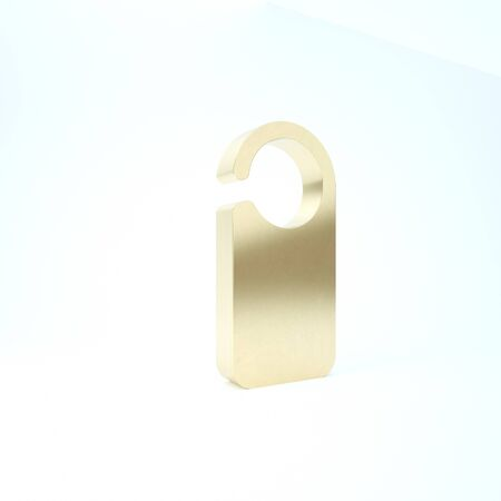 Gold Door hanger tags for room in hotel or resort icon isolated on white background. Please do not disturb sign. 3d illustration 3D render