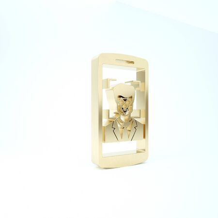 Gold Mobile phone and face recognition icon isolated on white background. Face identification scanner icon. Facial id. Cyber security. 3d illustration 3D render