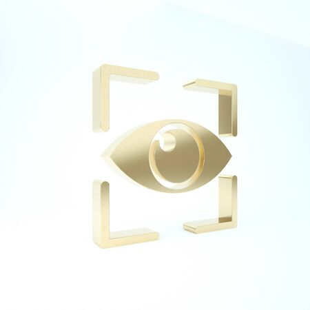 Gold Eye scan icon isolated on white background. Scanning eye. Security check symbol. Cyber eye sign. 3d illustration 3D render