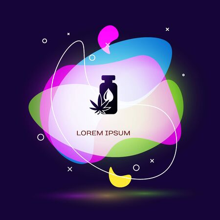 Black Medical marijuana or cannabis leaf olive oil drop icon isolated on dark blue background. Cannabis extract. Hemp symbol. Abstract banner with liquid shapes. Vector Illustration