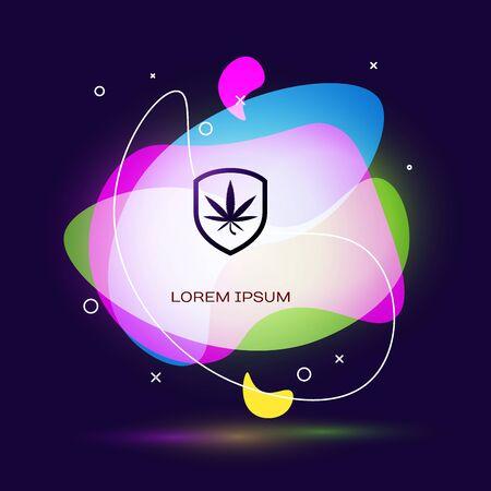 Black Shield and marijuana or cannabis leaf icon isolated on dark blue background. Marijuana legalization. Hemp symbol. Abstract banner with liquid shapes. Vector Illustration