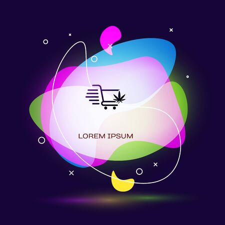 Black Shopping cart with marijuana or cannabis leaf icon isolated on dark blue background. Online buying. Delivery service. Supermarket basket. Abstract banner with liquid shapes. Vector Illustration Illustration