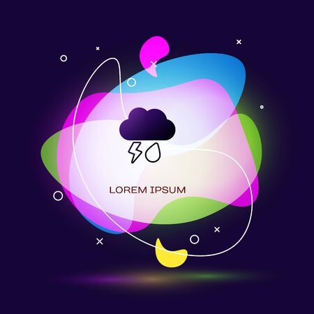 Black Cloud with rain and lightning icon isolated on dark blue background. Rain cloud precipitation with rain drops.Weather icon of storm. Abstract banner with liquid shapes. Vector Illustration 일러스트