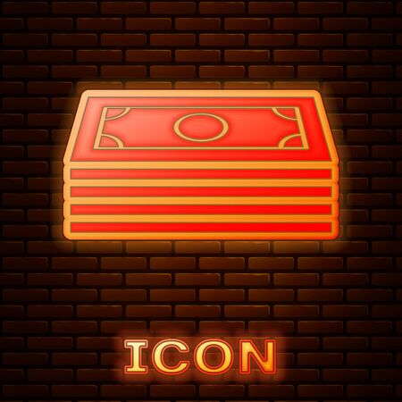 Glowing neon Stacks paper money cash icon isolated on brick wall background. Money banknotes stacks. Bill currency. Vector Illustration
