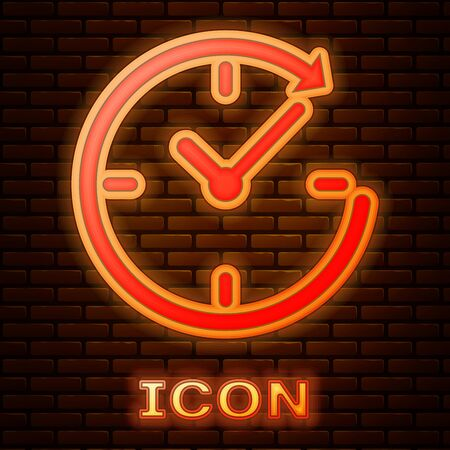 Glowing neon Clock with arrow icon isolated on brick wall background. Time symbol. Clockwise rotation icon arrow and time. Vector Illustration