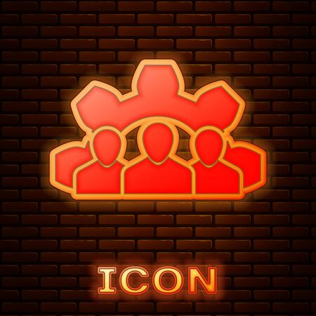 Glowing neon Project team base icon isolated on brick wall background. Business analysis and planning, consulting, team work, project management. Vector Illustration Ilustração