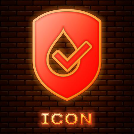 Glowing neon Waterproof icon isolated on brick wall background. Water resistant or liquid protection concept. Vector Illustration Иллюстрация
