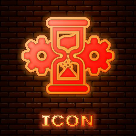 Glowing neon Hourglass and gear icon isolated on brick wall background. Time Management symbol. Clock and gear icon. Business concept. Vector Illustration