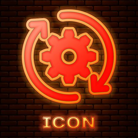 Glowing neon Gear and arrows as workflow concept icon isolated on brick wall background. Gear reload sign. Vector Illustration Ilustração