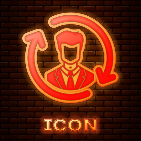 Glowing neon Human resources icon isolated on brick wall background. Concept of human resources management, professional staff research, head hunter job. Vector Illustration