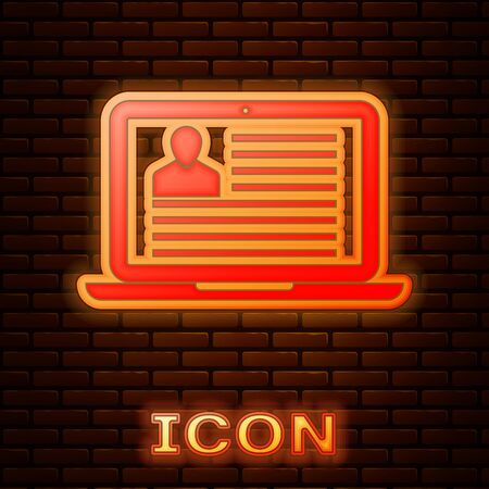 Glowing neon Laptop with resume icon isolated on brick wall background. CV application. Searching professional staff. Analyzing personnel resume. Vector Illustration