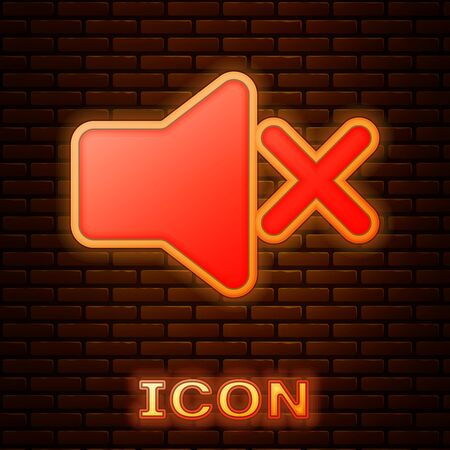 Glowing neon Speaker mute icon isolated on brick wall background. No sound icon. Volume Off symbol. Vector Illustration 일러스트