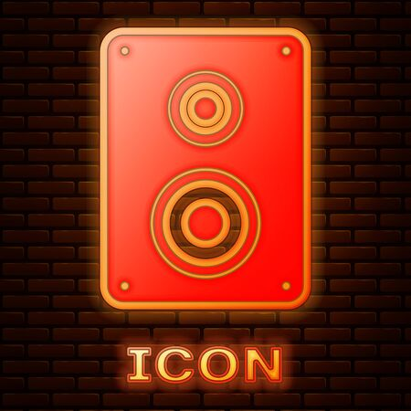 Glowing neon Stereo speaker icon isolated on brick wall background. Sound system speakers. Music icon. Musical column speaker bass equipment. Vector Illustration