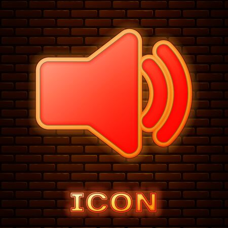 Glowing neon Speaker volume icon - audio voice sound symbol, media music icon isolated on brick wall background. Vector Illustration