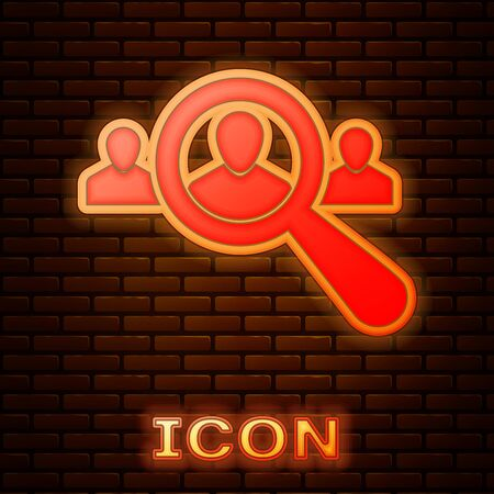 Glowing neon Magnifying glass for search a people icon isolated on brick wall background. Recruitment or selection concept. Search for employees and job. Vector Illustration