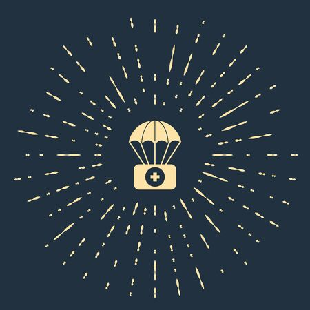 Beige Parachute with first aid kit icon isolated on dark blue background. Medical insurance. Abstract circle random dots. Vector Illustration 스톡 콘텐츠 - 133557716
