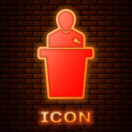 Glowing neon Speaker icon isolated on brick wall background. Orator speaking from tribune. Public speech. Person on podium. Vector Illustration
