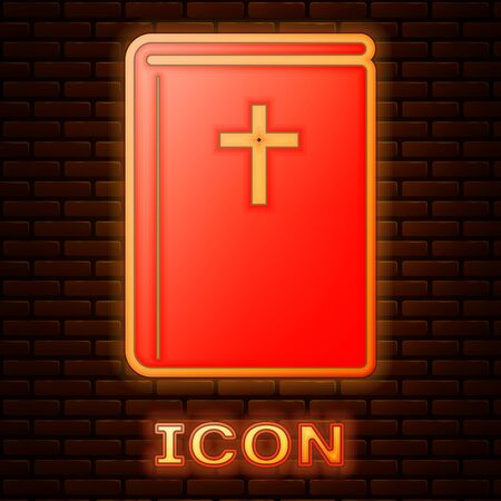 Glowing neon Holy bible book icon isolated on brick wall background. Vector Illustration