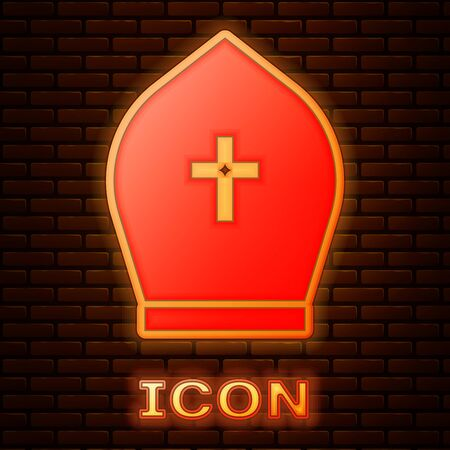 Glowing neon Pope hat icon isolated on brick wall background. Christian hat sign. Vector Illustration
