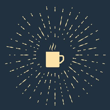 Beige Coffee cup flat icon isolated on dark blue background. Tea cup. Hot drink coffee. Abstract circle random dots. Vector Illustration