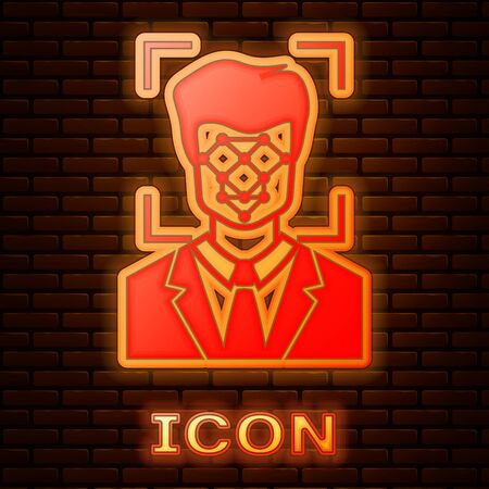 Glowing neon Face recognition icon isolated on brick wall background. Face identification scanner icon. Facial id. Cyber security concept. Vector Illustration Иллюстрация