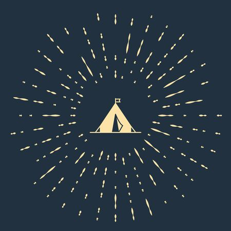 Beige Tourist tent with flag icon isolated on dark blue background. Camping symbol. Abstract circle random dots. Vector Illustration