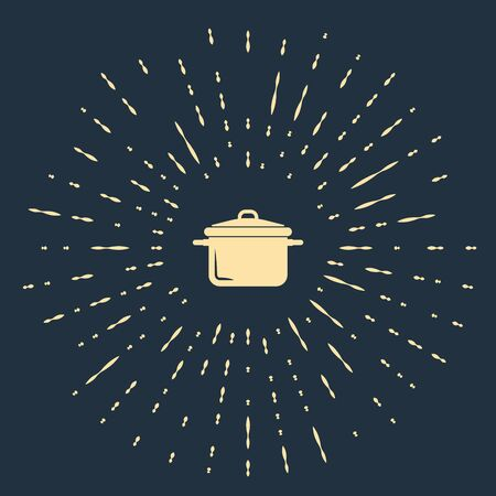 Beige Cooking pot icon isolated on dark blue background. Boil or stew food symbol. Abstract circle random dots. Vector Illustration