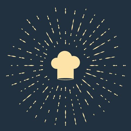 Beige Chef hat icon isolated on dark blue background. Cooking symbol. Cooks hat. Abstract circle random dots. Vector Illustration  イラスト・ベクター素材