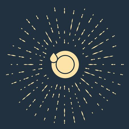 Beige Washing dishes icon isolated on dark blue background. Plate and sponge. Cleaning dishes icon. Dishwasher sign. Clean tableware sign. Abstract circle random dots. Vector Illustration