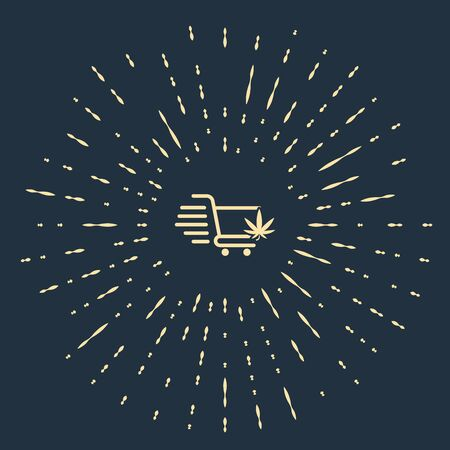 Beige Shopping cart with marijuana or cannabis leaf icon isolated on dark blue background. Online buying. Delivery service. Supermarket basket. Abstract circle random dots. Vector Illustration 일러스트