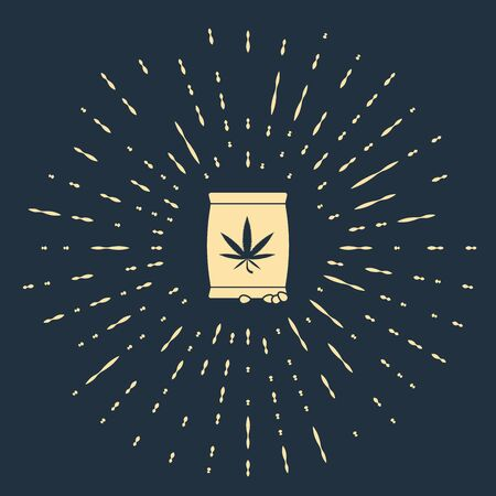 Beige Marijuana or cannabis seeds in a bag icon isolated on dark blue background. Hemp symbol. The process of planting marijuana. Abstract circle random dots. Vector Illustration Çizim