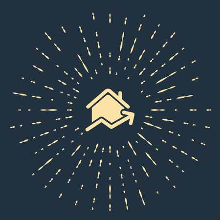 Beige Rising cost of housing icon isolated on dark blue background. Rising price of real estate. Residential graph increases. Abstract circle random dots. Vector Illustration
