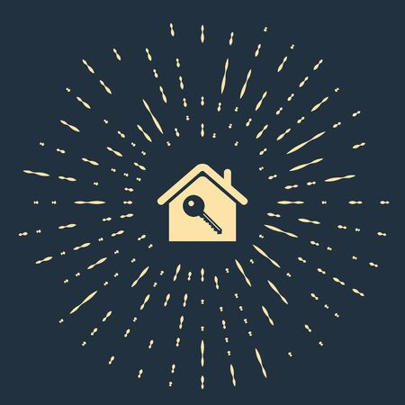 Beige House with key icon isolated on dark blue background. The concept of the house turnkey. Abstract circle random dots. Vector Illustration Illustration