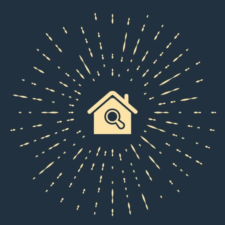 Beige Search house icon isolated on dark blue background. Real estate symbol of a house under magnifying glass. Abstract circle random dots. Vector Illustration  イラスト・ベクター素材