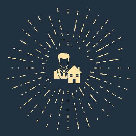 Beige Realtor icon isolated on dark blue background. Buying house. Abstract circle random dots. Vector Illustration