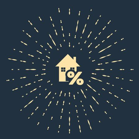 Beige House with percant discount tag icon isolated on dark blue background. House percentage sign price. Real estate home. Credit percentage symbol. Abstract circle random dots. Vector Illustration